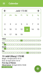 Calendar View of the Badí' Calendar App